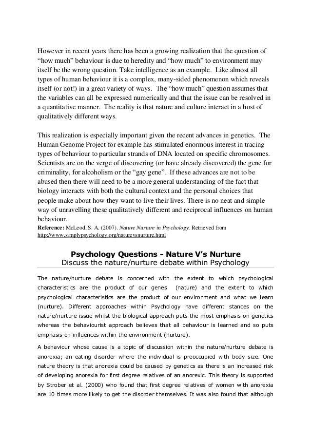 nature vs nurture behavior essays