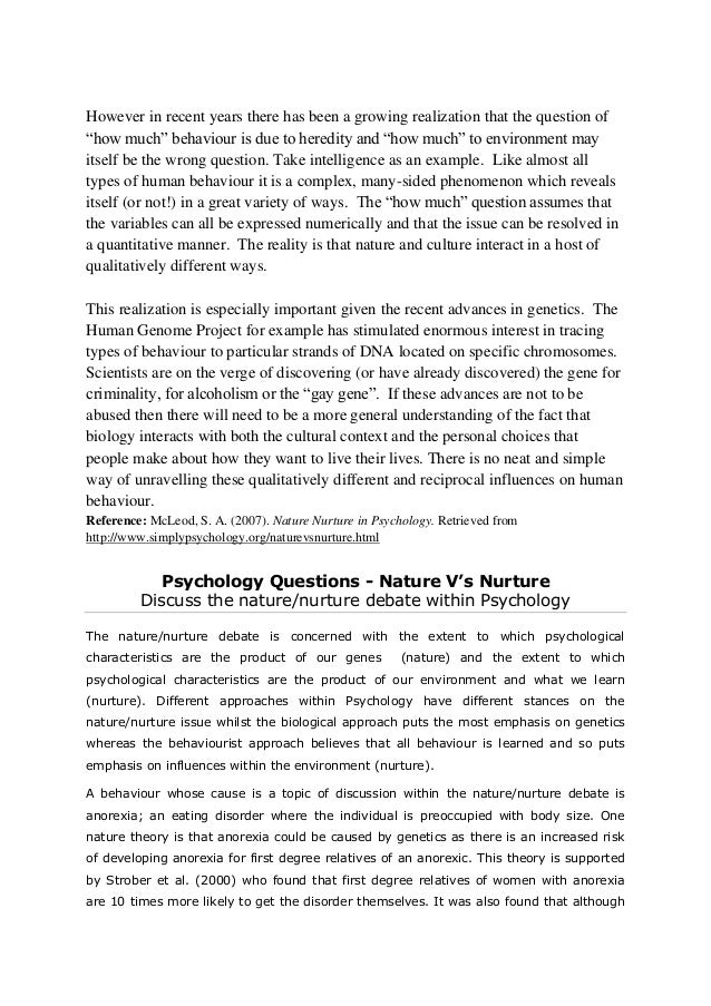 Personality Theories: Nature versus Nurture – Health Psychology ...