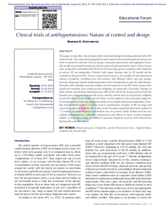 13Indian Journal of Pharmacology | February 2011 | Vol 43 | Issue 1 | 13-17Clinical trials of antihypertensives: Nature of...