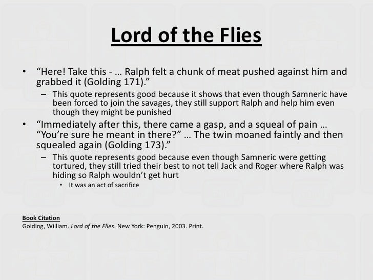 thesis statement about ralph from lord of the flies Wlh: final draft of lord of the flies essay due due date:  ƒ does each  paragraph develop a point that clearly supports/develops the thesis statement ƒ  do the body  what else does ralph blame jack for besides the loss of the fire  2.