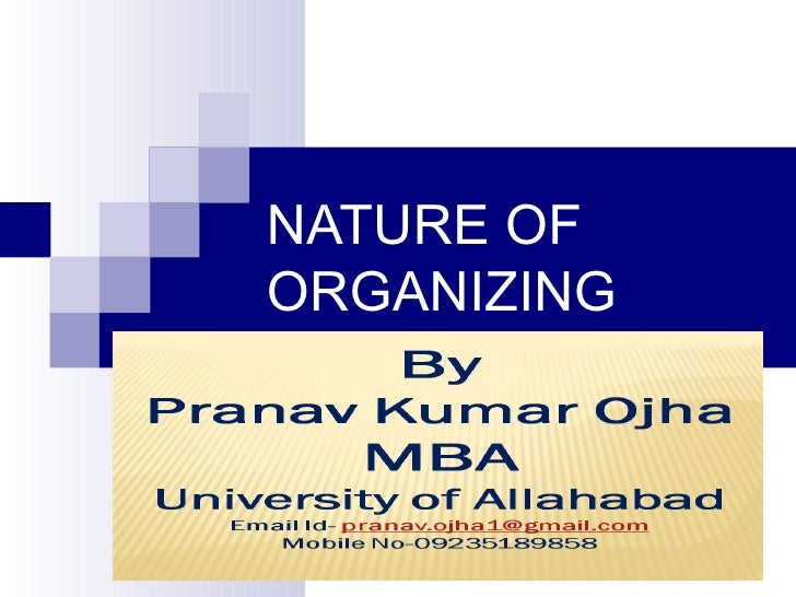 Nature of organizing , formal and informal organization