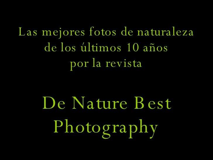 Las mejores fotos de naturaleza de los últimos 10 años por la revista De Nature Best Photography