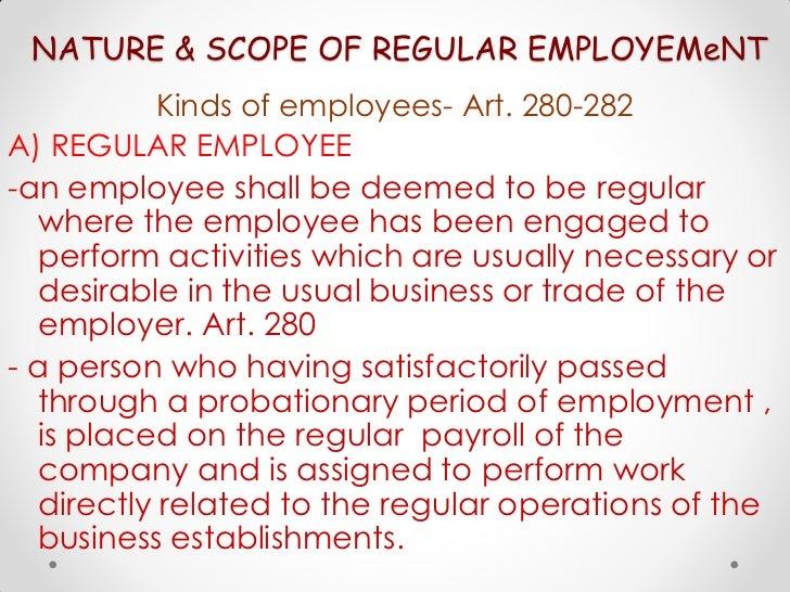 Nature & scope of employement
