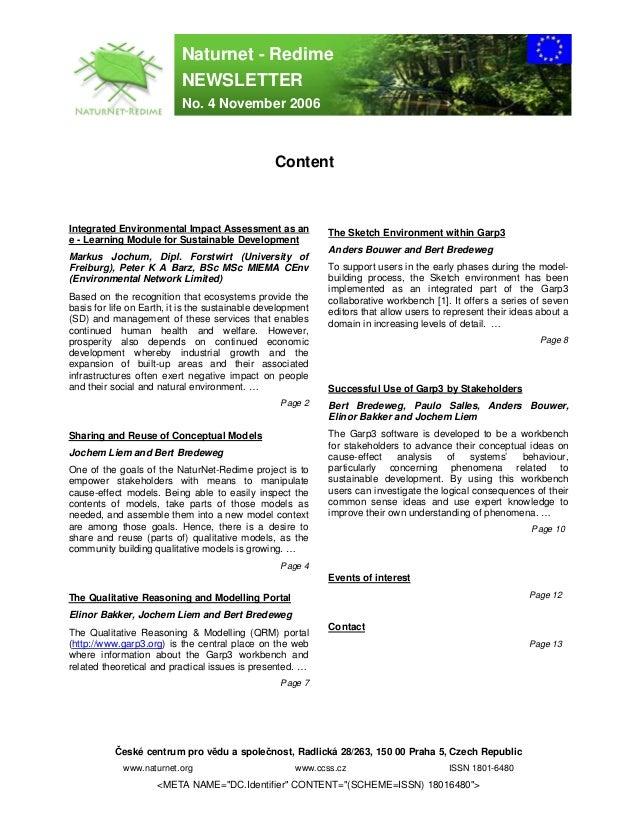 Naturnet - Redime                           NEWSLETTER                           No. 4 November 2006                      ...