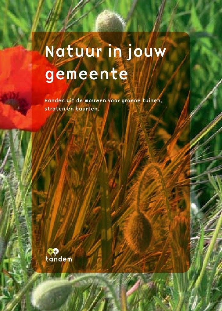 Natuur in jouw gemeente Handen uit de mouwen voor groene tuinen, straten en buurten.