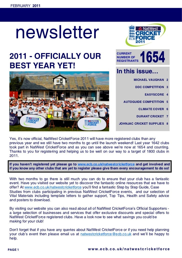 FEBRUARY 2011    newsletter                                                                  CURRENT2011 - OFFICIALLY OUR ...