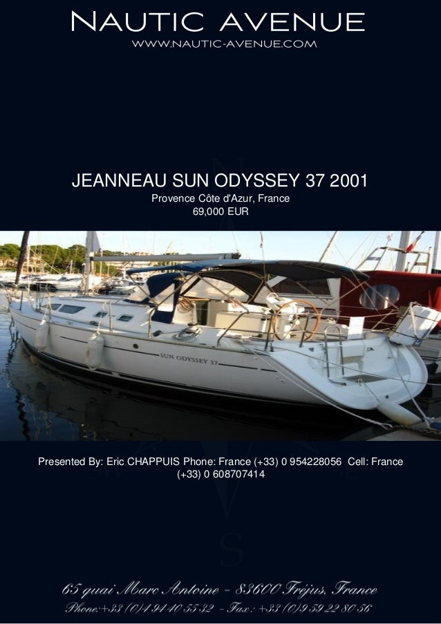 JEANNEAU SUN ODYSSEY 37, 2001, 69.000 € For Sale Brochure. Presented By nautic-avenue.com