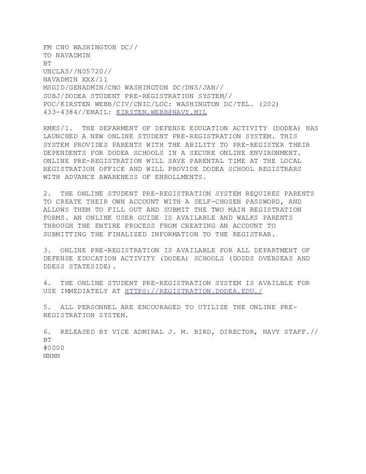 Navadmin DODEA Online Registration