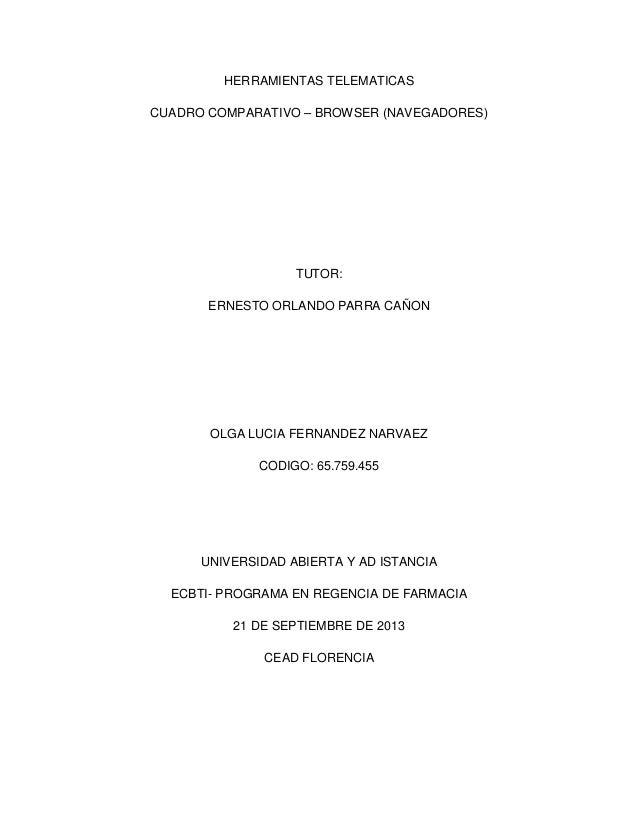 HERRAMIENTAS TELEMATICAS CUADRO COMPARATIVO – BROWSER (NAVEGADORES)  TUTOR: ERNESTO ORLANDO PARRA CAÑON  OLGA LUCIA FERNAN...