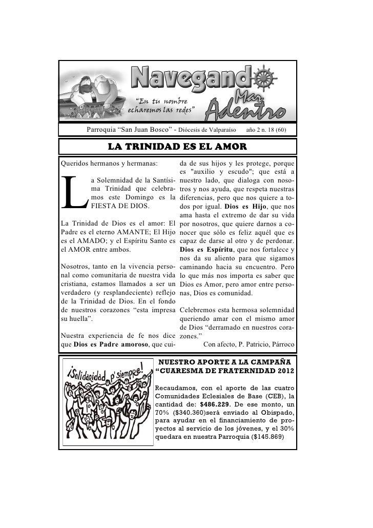 """Parroquia """"San Juan Bosco"""" - Diócesis de Valparaíso   año 2 n. 18 (60)               LA TRINIDAD ES EL AMORQueridos herman..."""