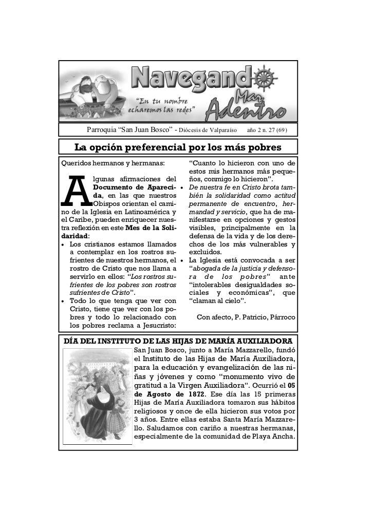 """Parroquia """"San Juan Bosco"""" - Diócesis de Valparaíso   año 2 n. 27 (69)    La opción preferencial por los más pobresQuerido..."""