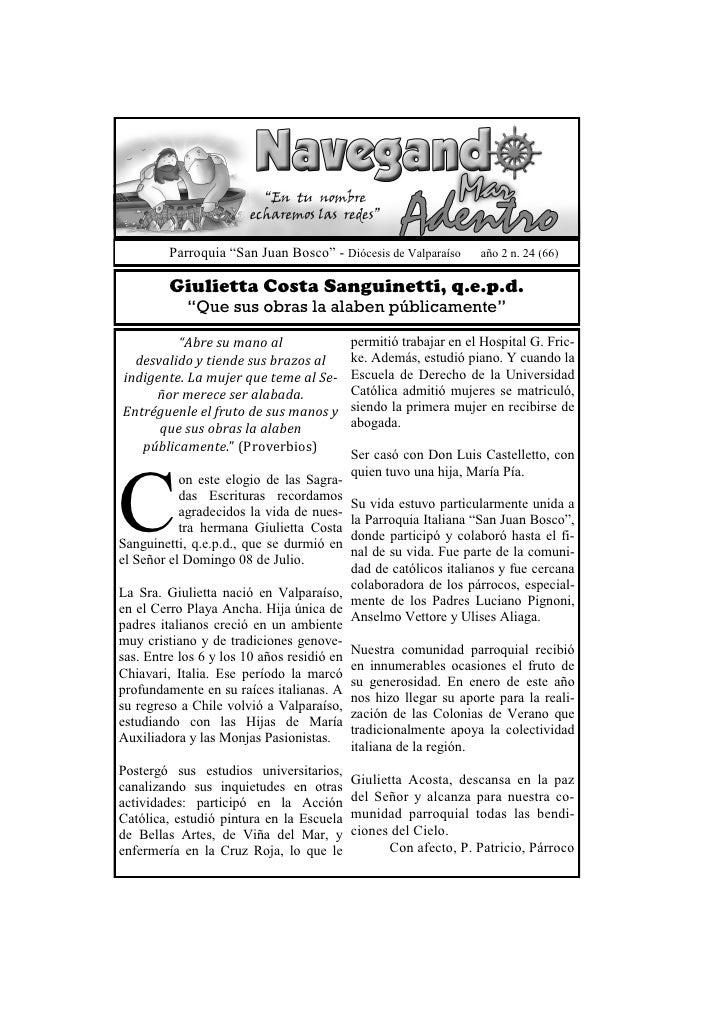 "Parroquia ""San Juan Bosco"" - Diócesis de Valparaíso     año 2 n. 24 (66)         Giulietta Costa Sanguinetti, q.e.p.d.    ..."