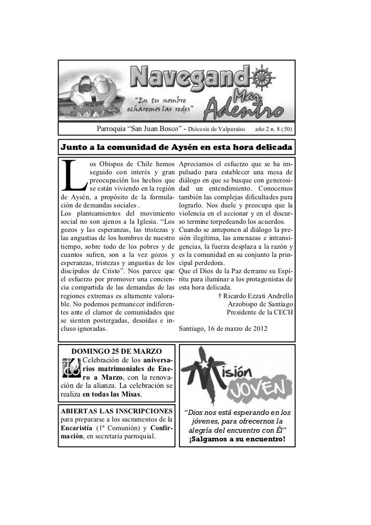 """Parroquia """"San Juan Bosco"""" - Diócesis de Valparaíso        año 2 n. 8 (50)Junto a la comunidad de Aysén en esta hora delic..."""