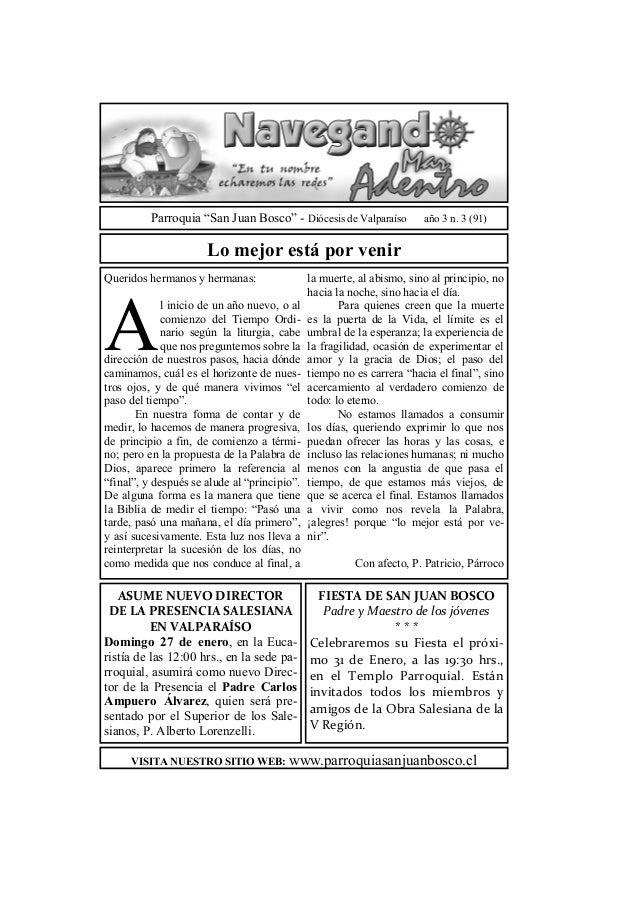 """Parroquia """"San Juan Bosco"""" - Diócesis de Valparaíso          año 3 n. 3 (91)                      Lo mejor está por venirQ..."""