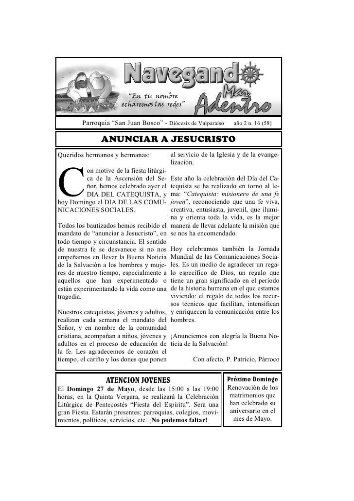 """Parroquia """"San Juan Bosco"""" - Diócesis de Valparaíso     año 2 n. 16 (58)                ANUNCIAR A JESUCRISTOQueridos herm..."""