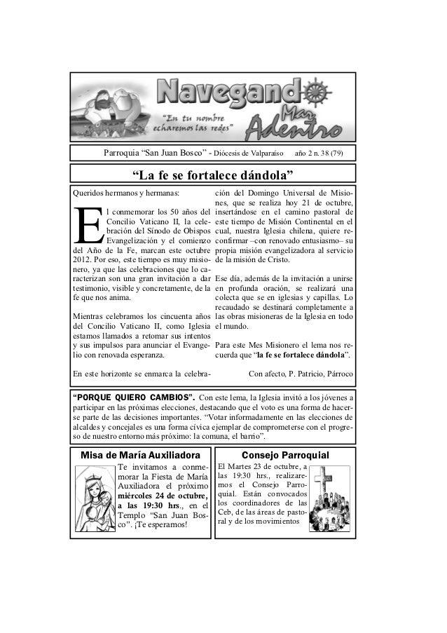 """Parroquia """"San Juan Bosco"""" - Diócesis de Valparaíso      año 2 n. 38 (79)                 """"La fe se fortalece dándola""""Quer..."""