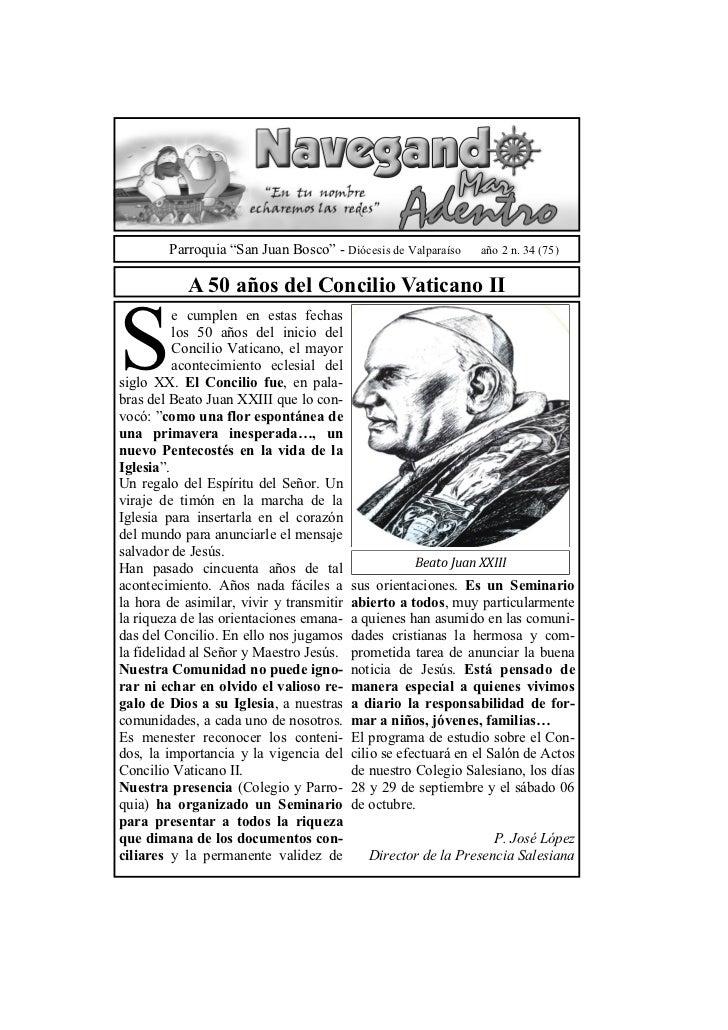 """Parroquia """"San Juan Bosco"""" - Diócesis de Valparaíso     año 2 n. 34 (75)            A 50 años del Concilio Vaticano IIS   ..."""