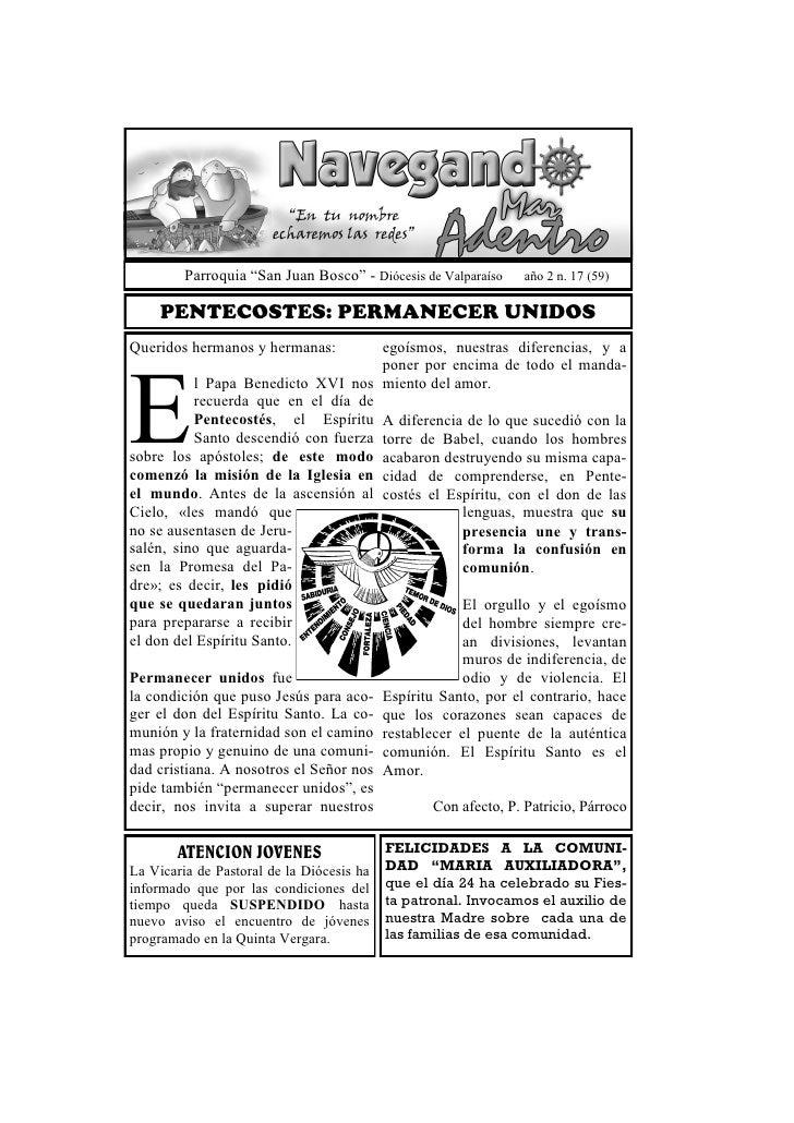 """Parroquia """"San Juan Bosco"""" - Diócesis de Valparaíso   año 2 n. 17 (59)     PENTECOSTES: PERMANECER UNIDOSQueridos hermanos..."""