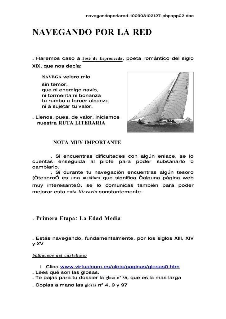 navegandoporlared-100903102127-phpapp02.doc    NAVEGANDO POR LA RED  . Haremos caso a José de Espronceda, poeta romántico ...