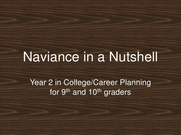 Naviance in a Nutshell<br />Year 2 in College/Career Planning for 9th and 10th graders<br />