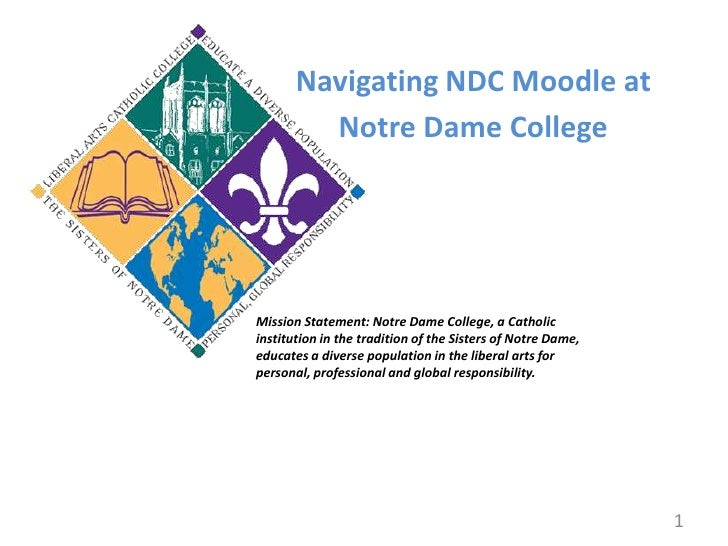 Navigating NDC Moodle at<br />Notre Dame College<br />Mission Statement: Notre Dame College, a Catholic institution in the...