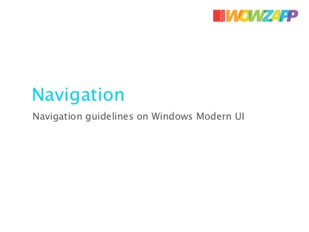 NavigationNavigation guidelines on Windows Modern UI