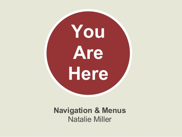 Navigation & Menus Natalie Miller You Are Here