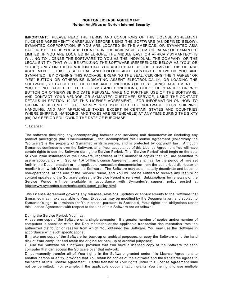 NORTON LICENSE AGREEMENT                              Norton AntiVirus or Norton Internet Security   IMPORTANT: PLEASE REA...