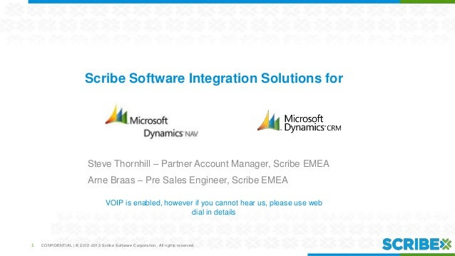 Scribe Software Integration Solutions for  Steve Thornhill – Partner Account Manager, Scribe EMEA Arne Braas – Pre Sales E...