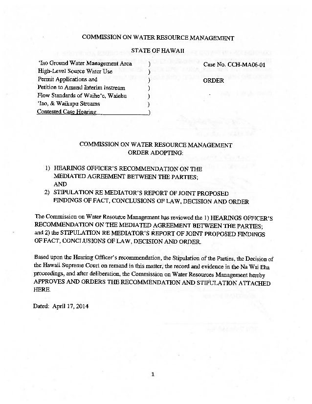 COMMISSION ON WATER RESOURCE MANAGEMENT STATE OF HAWAII 'lao Ground Water Management Area ) Case No. CCH-MAO6-Ol High-Leve...