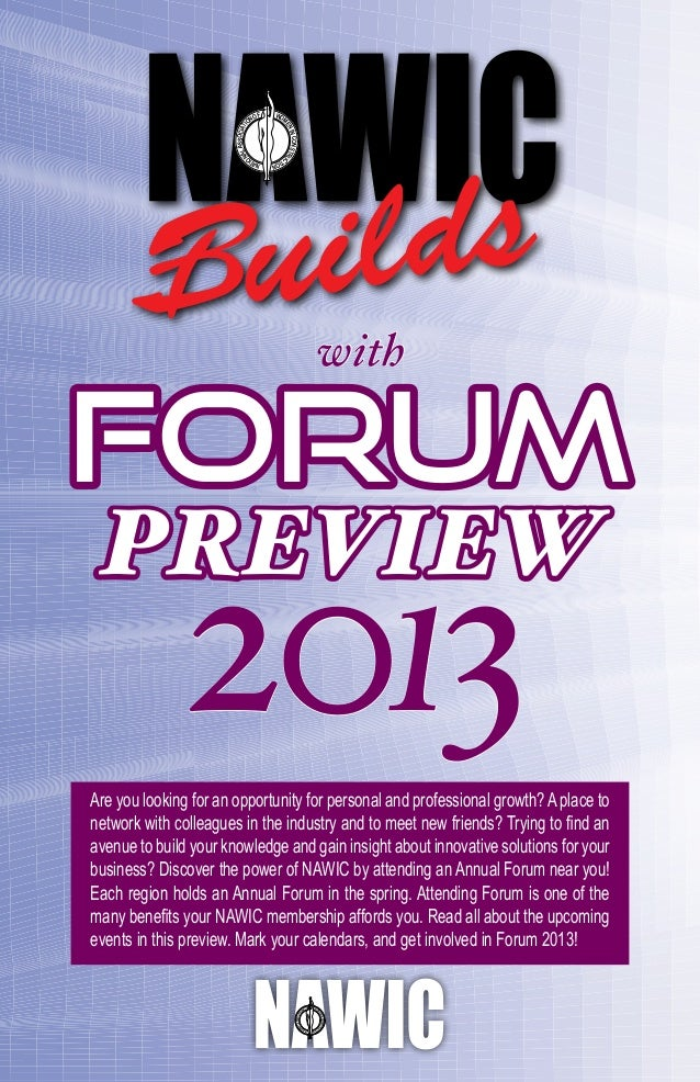 Nawic Forum Preview 2013