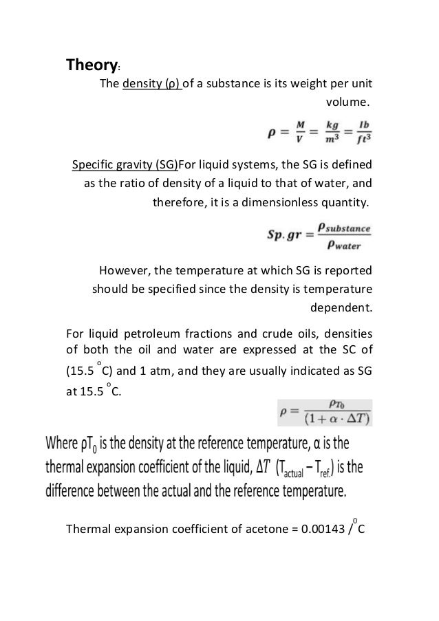 density lab report essay Lab report: heat capacity ratio for gases as the density if you are the original writer of this essay and no longer wish to have the essay published on.