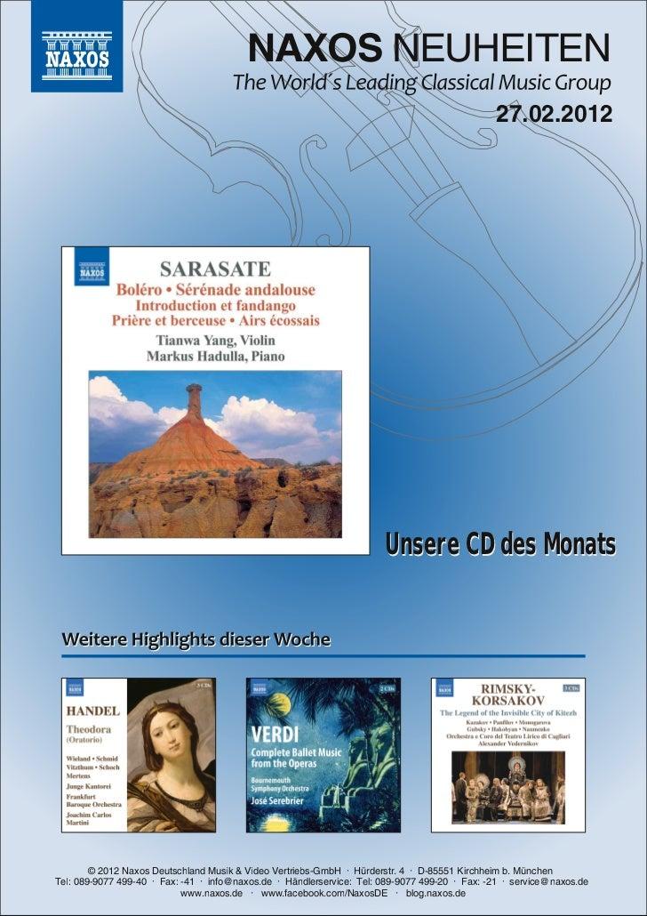 NAXOS Deutschland CD-Neuheiten März 2012