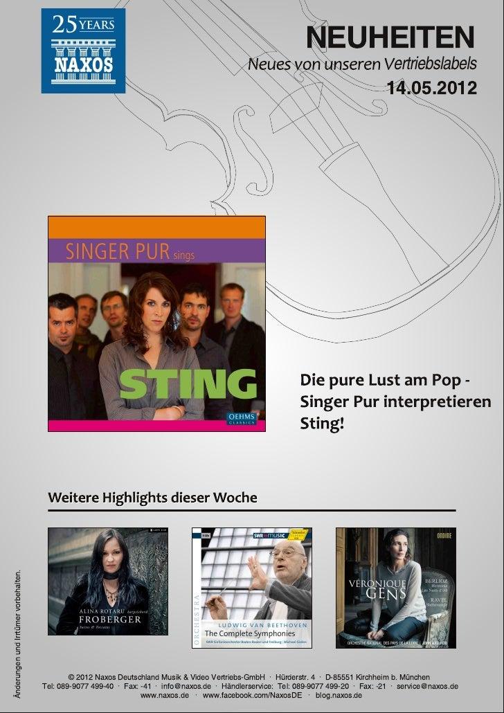 Blu-ray, DVD- und CD-Neuheiten Mai 2012 Nr. 2 (Im Vertrieb der NAXOS Deutschland GmbH)