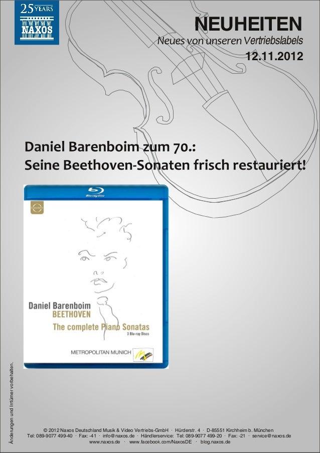 Blu-ray, DVD- und CD-Neuheiten November 2012 Nr. 2 (Im Vertrieb der NAXOS Deutschland GmbH)
