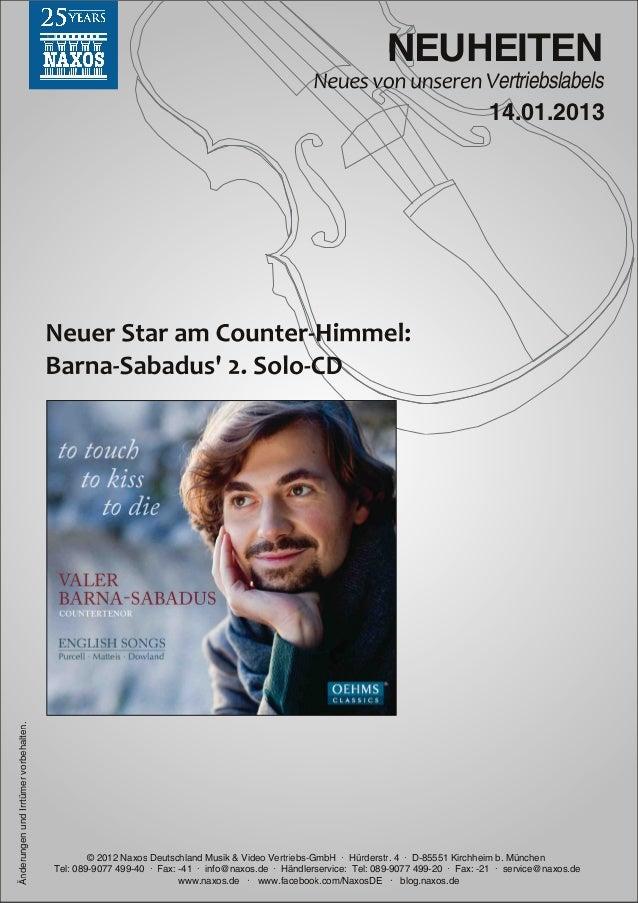 Blu-ray, DVD- und CD-Neuheiten Januar 2013 Nr. 2 (Im Vertrieb der NAXOS Deutschland GmbH)