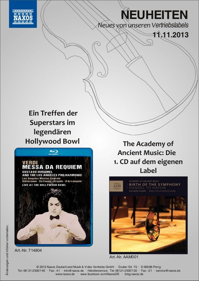 Blu-ray, DVD- und CD-Neuheiten November 2013 Nr. 2 (Im Vertrieb der NAXOS Deutschland GmbH)
