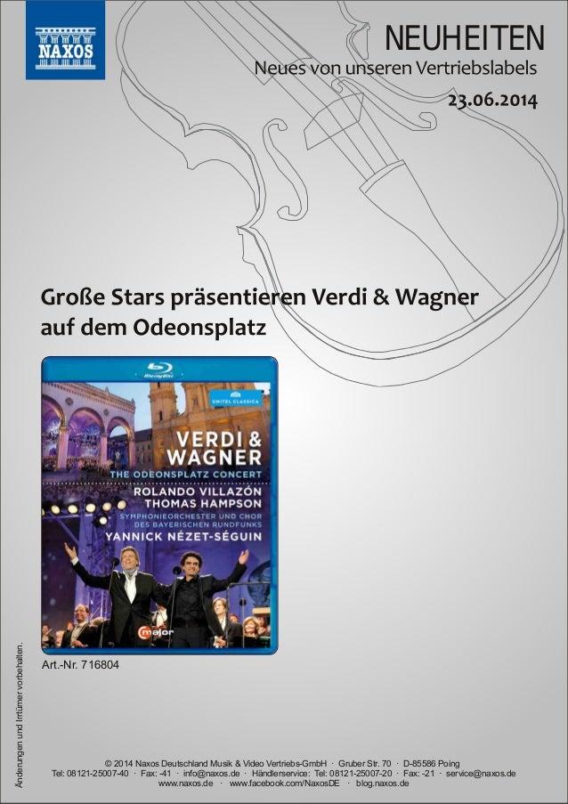 Blu-ray, DVD- und CD-Neuheiten Juni Nr. 3 (Im Vertrieb der NAXOS Deutschland GmbH)