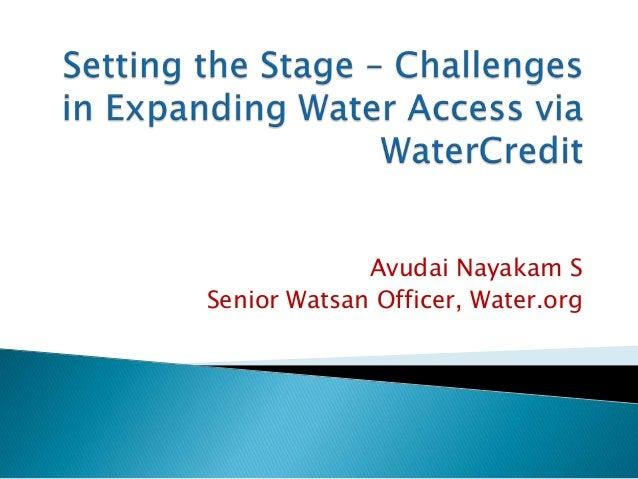Avudai Nayakam SSenior Watsan Officer, Water.org