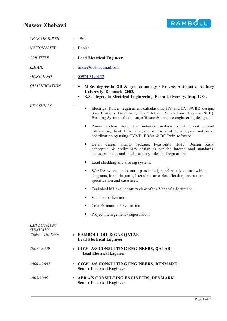 Nasser Zhebawi   YEAR OF BIRTH       : 1960   NATIONALITY         : Danish   JOB TITLE           : Lead Electrical Enginee...