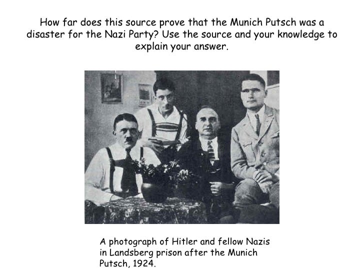 How far does this source prove that the Munich Putsch was a disaster for the Nazi Party? Use the source and your knowledge...