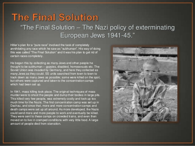 holocaust hitlers final solution essay I feel that the final solution meant more the  the persecution of german jews began with hitlers  my fourth and final fertilizer is urea solution its 3.