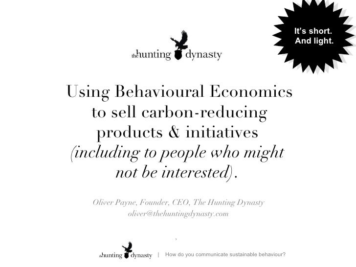Short: Using Behavioural Economics to sell carbon-reducing products & initiatives  (including to people who might  not be interested)