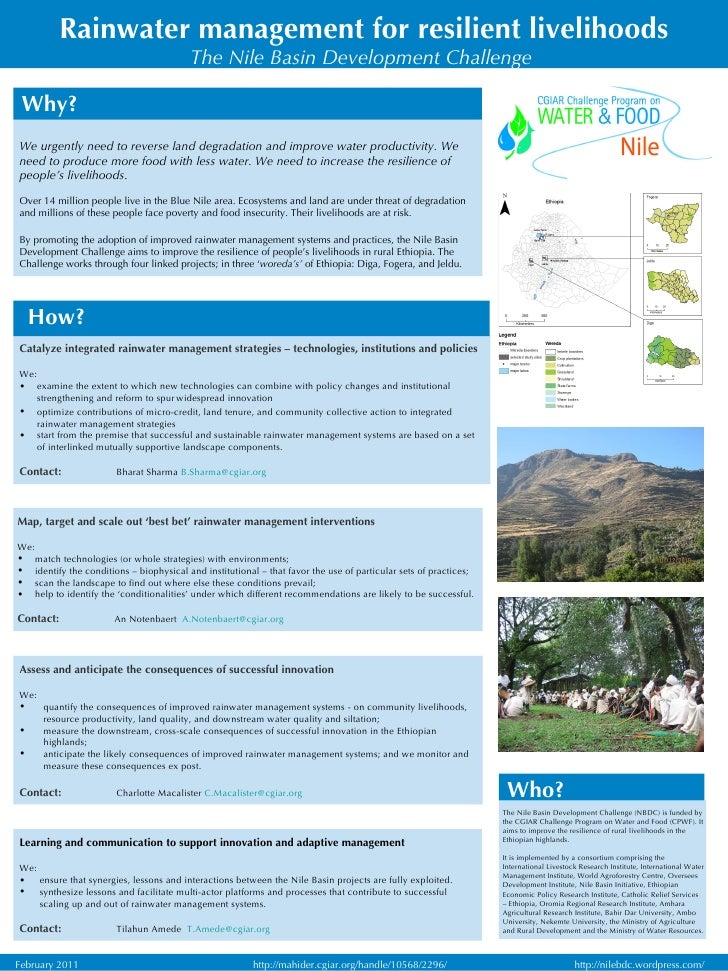 Rainwater management for resilient livelihoods The Nile Basin Development Challenge   <ul><li>Map, target and scale out 'b...