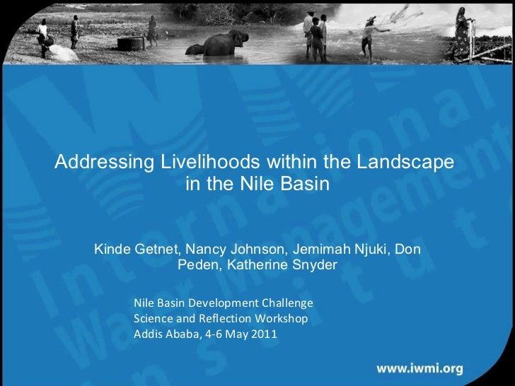 Addressing Livelihoods within the Landscape  in the Nile Basin Kinde Getnet, Nancy Johnson, Jemimah Njuki, Don Peden, Kath...