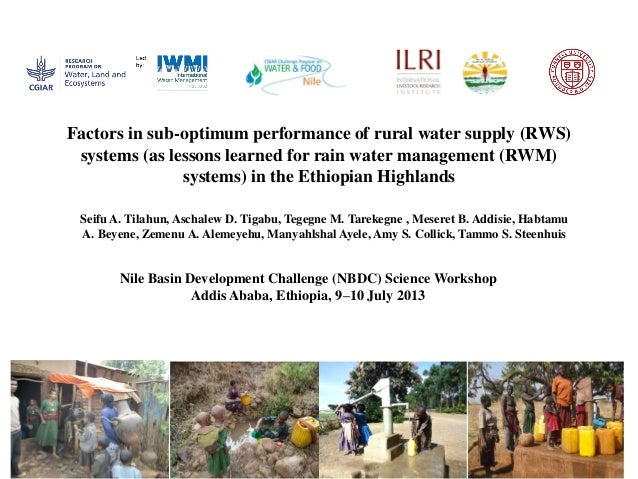 thesis on water supply 2014-10-10  173 community participation in rural water supply: an analysis using household data from north kerala nisha k r institute for social and economic change.