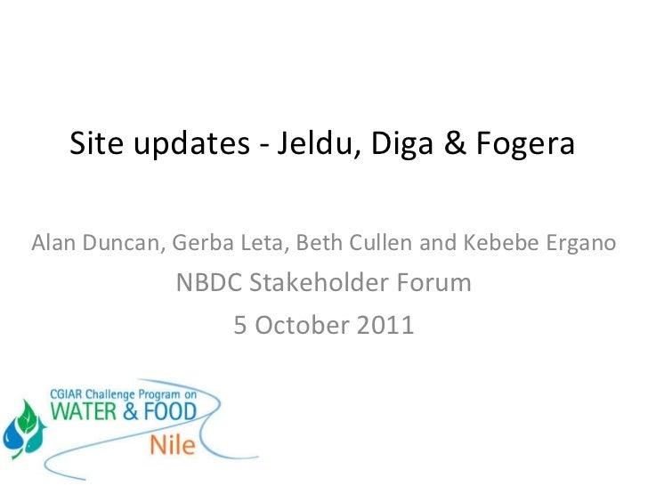 NBDC site updates: Jeldu, Diga and Fogera
