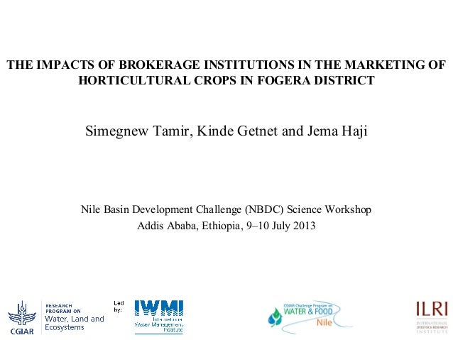 THE IMPACTS OF BROKERAGE INSTITUTIONS IN THE MARKETING OF HORTICULTURAL CROPS IN FOGERA DISTRICT Simegnew Tamir, Kinde Get...