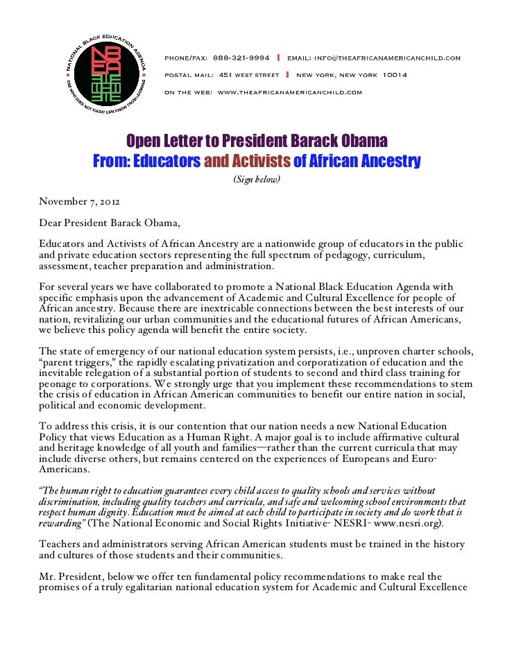 Open Letter to President Barack Obama             From: Educators and Activists of African Ancestry                       ...
