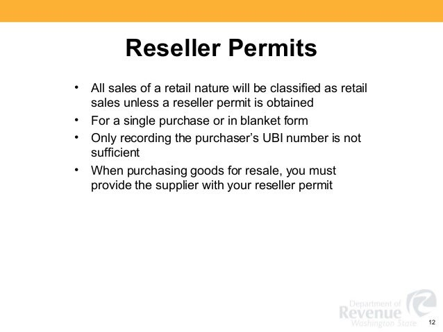Reseller Permit Number Reseller Permits All Sales